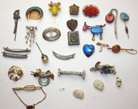 Lot Of 28 Brooches, Pins, Stick Pins, And More