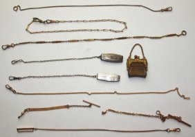 Lot Of 10 Watch Chains And Fobs