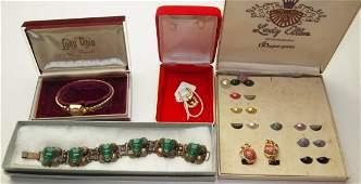 Lady Elgin wrist watch, jade bracelet, pair 14K yellow