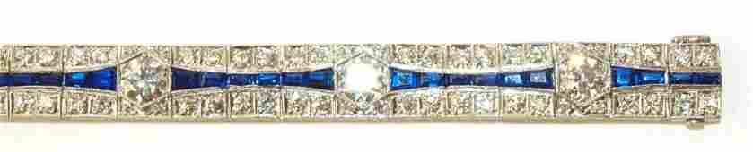 Antique ladies 18K white gold, diamond, & sapphire