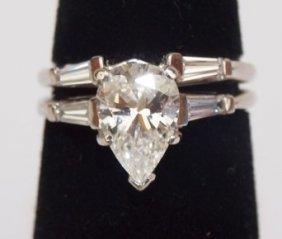 Platinum Ladies 1.2 Ct Pear Shape Diamond Solitair