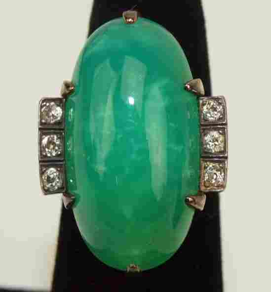 14K yellow gold antique jade and diamond ring