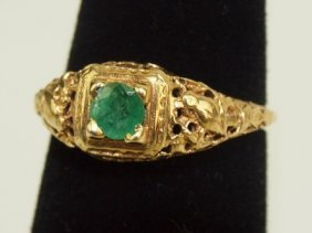 Antique 14k Yellow Gold Emerald Filagree Ring