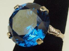 Antique 14k White Gold Ladies Ring With Large Cobalt