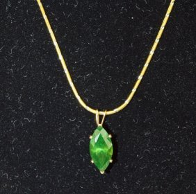 14k Yellow Gold Emerald Pendant And Chain