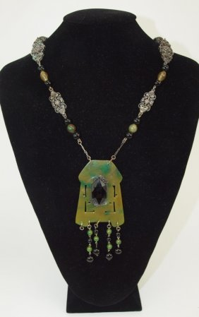 Jade Bakelite And Silver Antique Necklace
