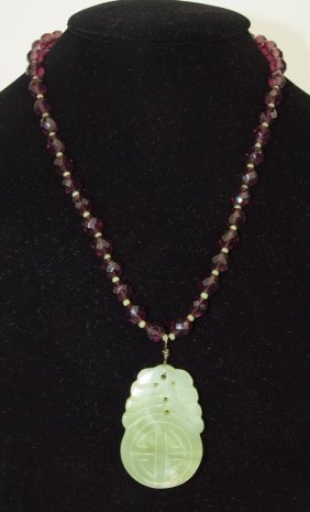 Jade And Amethyst Beaded Necklace With Pendant