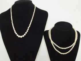 Lot Of 2 Pearl Necklaces, One With 10k White Gold Clasp