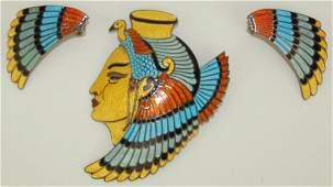 Margot de Taxco sterling silver enamel Cleopatra brooch