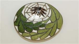 Margot de Taxco sterling silver enamel brooch with