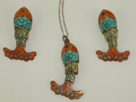 Margot De Taxco Sterling Silver Enamel Fish Necklace