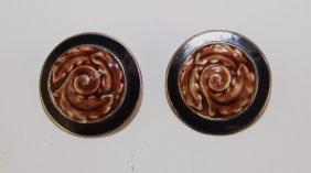 Margot De Taxco Sterling Silver Enamel Pair Of Earrings