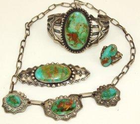 Navajo Indian Turquoise Jewelry Set: Cuff Bracelet,