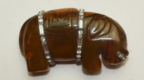 Bakelite Hippo Brooch Pin With Rhinestones
