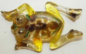 Lucite Frog Brooch Pin
