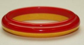Bakelite Red And Ivory Bangle Bracelet