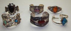 Sterling Silver Lot Of 6 Cuff Bracelets