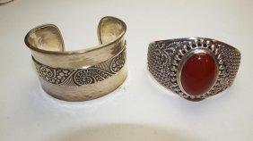 Sterling Silver Lot Of 2 Cuff Bracelets