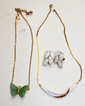 Trifari Lot Of 2 Necklaces And Pair Of Earrings