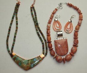 Jay King Lot Of Copper & Sterling Silver: 2 Necklaces,