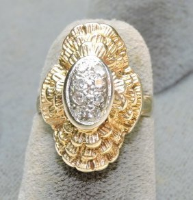 Lady's 14kt Yellow Gold Dinner Ring With Diamonds