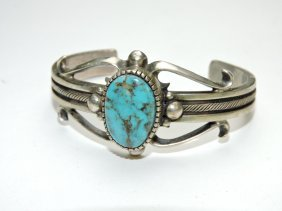 Navajo Indian Sterling And Turquoise Cuff Bracelet