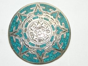 Sterling & Turquoise Brooch/pendant