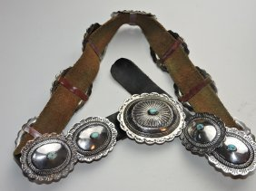 Navajo American Indian Silver & Turquoise Belt
