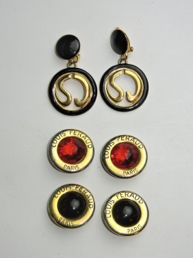 St. John Pair Of Earrings & 2 Pair Louis Feraud Earring