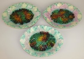 Majolica Lot Of 3 Platters, Various Conditions