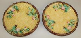 """Majolica Pair Of Rustic Round Platters, 10 1/2"""""""