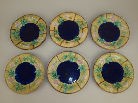 """Majolica Set Of 6 - 7 3/4"""" Wild Rose And Rope Plates"""