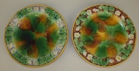 "Majolica Lot Of 2 Strawberry Plates, 10"", Various"