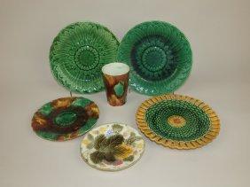 Wedgwood Majolica Lot Of 5 Plates And Tumbler
