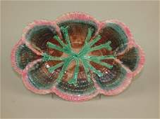 Etruscan Majolica shell & seaweed platter, great color,