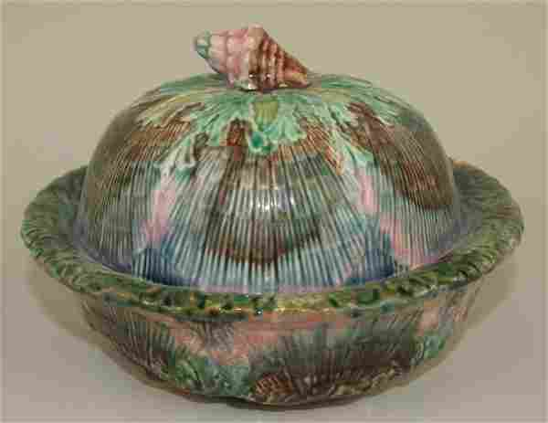 Etruscan Majolica shell & seaweed butter dish