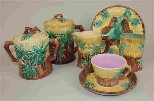 Etruscan Majolica bamboo lot of 6 pieces: teapot,