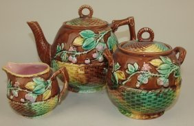 Majolica Floral, Berry, & Basket Rustic 3 Pc Tea Set