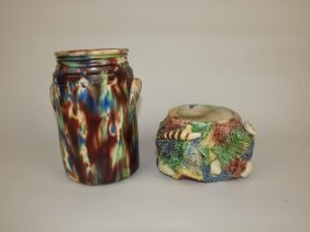 Majolica Mottled Jar And Palissy Planter, Various