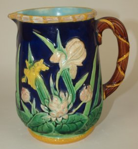 George Jones Majolica Cobalt Iris & Waterlily Pitcher,