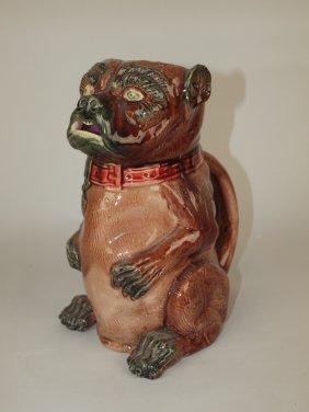 "Majolica Figural Pug Dog Pitcher, 9"""