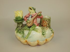 Majolica Frog With Mandolin On Shell Figural Match