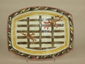 Wedgwood Majolica Boat On Waves Platter, Crow's Foot