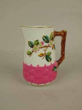 George Jones Porcelain Apple Blossom Pitcher With Pink