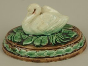 Etruscan Swan And Water Lily Paperweight, Rare