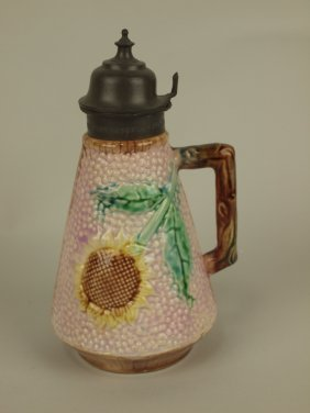Eruscan Pink Sunflower Syrup Pitcher