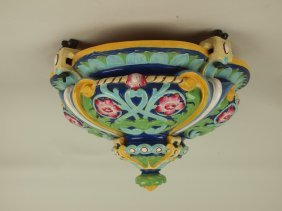 Minton Majolica Hanging Fernery With Cobalt Ground