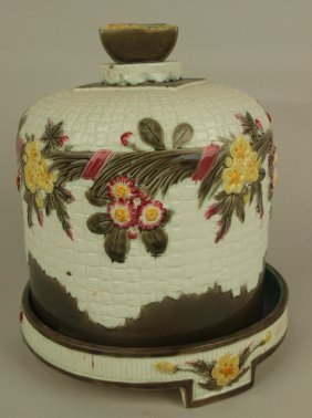 Wedgwood Majolica Cheese Keeper With Basket & Floral