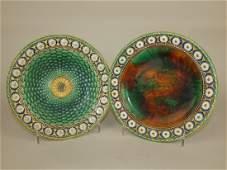 Wedgwood Majolica Stanley pair of plates, rim nick to