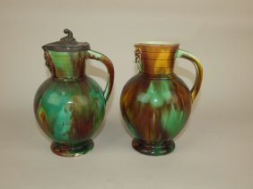 Wedgwood Majolica Pair Of Mottled Jugs, One With Pewter